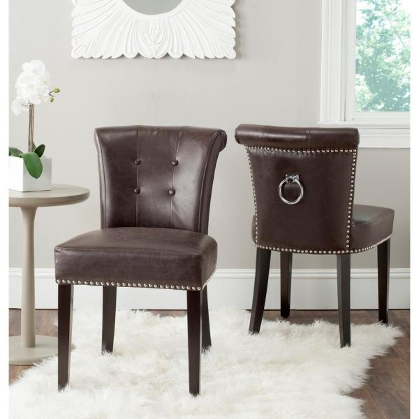 Safavieh Sinclair Antique Brown/Espresso Leather Side Chair (Set of 2)