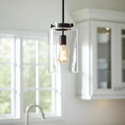 1-Light Oil Rubbed Bronze Mini Pendant with Clear Glass Shade