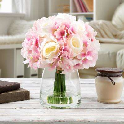 10.5 in. Hydrangea and Rose Artificial Floral White and Pink Arrangement