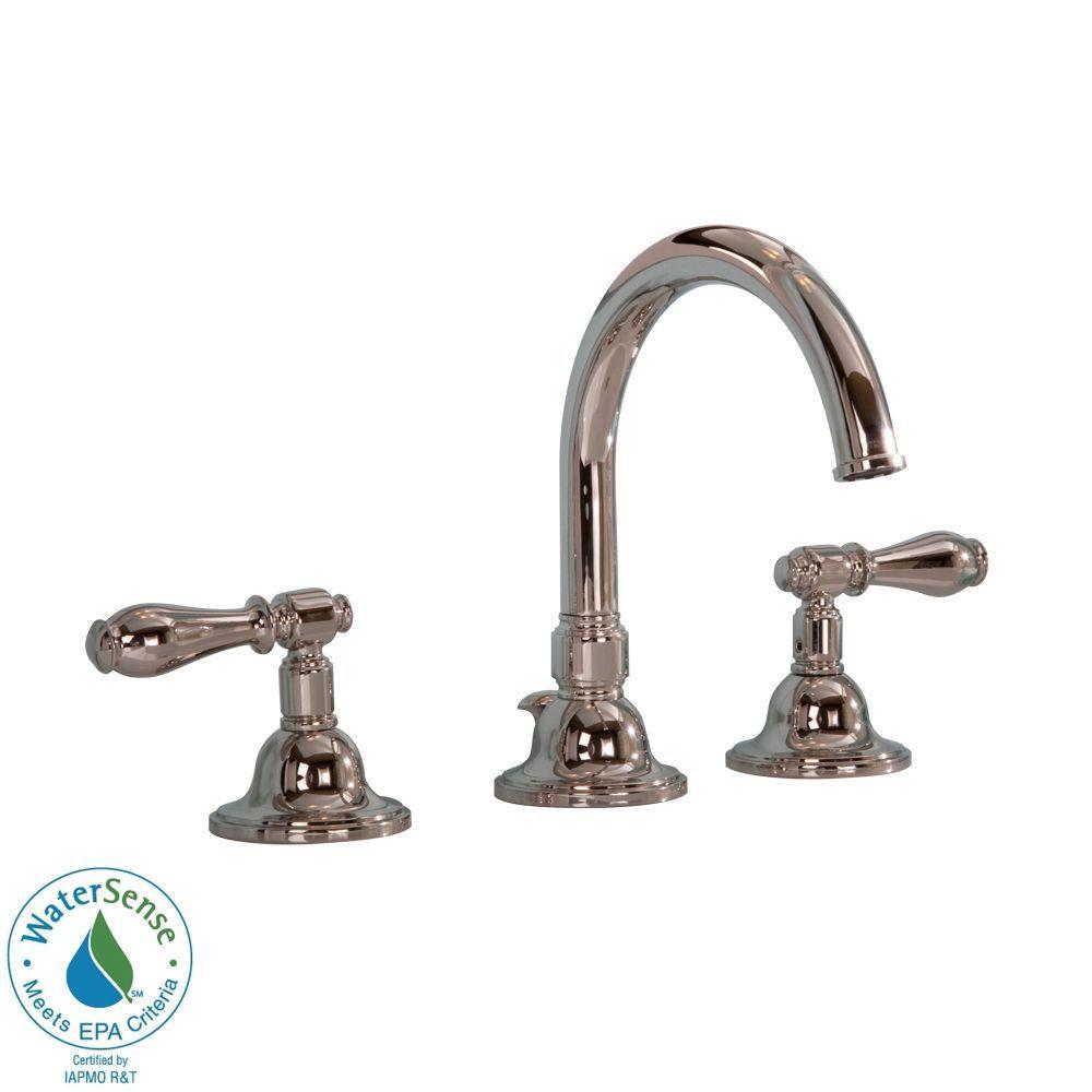 Martha Stewart Living Seal Harbor 8 in. Widespread 2-Handle High-Arc Bathroom Faucet in Polished Nickel