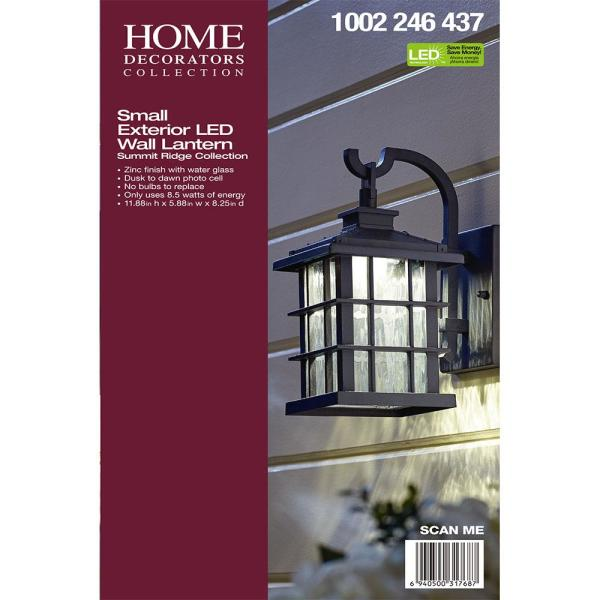 Home Decorators Collection Summit Ridge Collection Zinc Outdoor Integrated Led Wall Lantern Sconce Cqh1691ls The Home Depot
