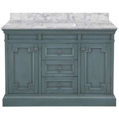 Cailla 49 in. W x 22 in. D Bath Vanity in Distressed Blue Fog with Marble Vanity Top in Carrara with White Sink
