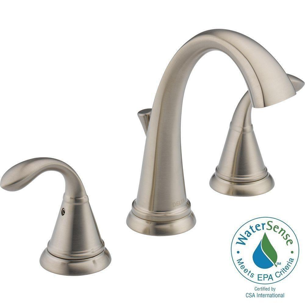 Delta zella 8 in widespread 2 handle bathroom faucet in brushed nickel 35706lf ss eco the for Delta widespread bathroom faucet