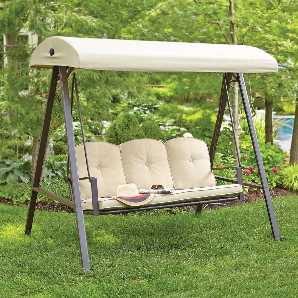 Cunningham 3-Person Metal Outdoor Swing with Canopy & Patio Swings - Patio Chairs - The Home Depot