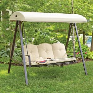 H&ton Bay Cunningham 3-Person Metal Outdoor Swing with Canopy-GSS00132D - The Home Depot : porch glider with canopy - memphite.com