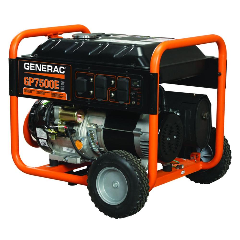 portable generators. Generac 7,500-Watt Gasoline Powered Electric Start Portable Generator Generators B