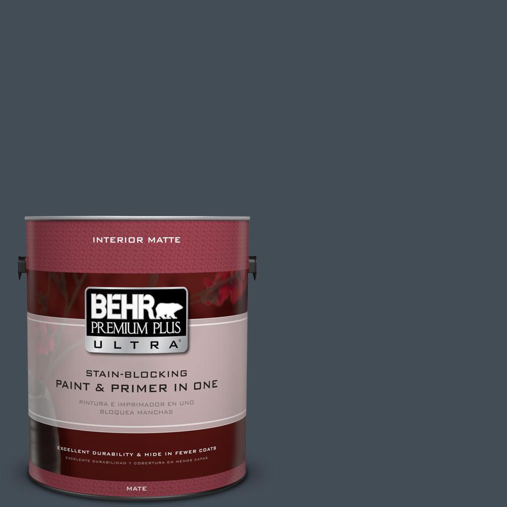 BEHR Premium Plus Ultra 1 gal. #PPF-48 Evening Storm Flat/Matte Interior Paint