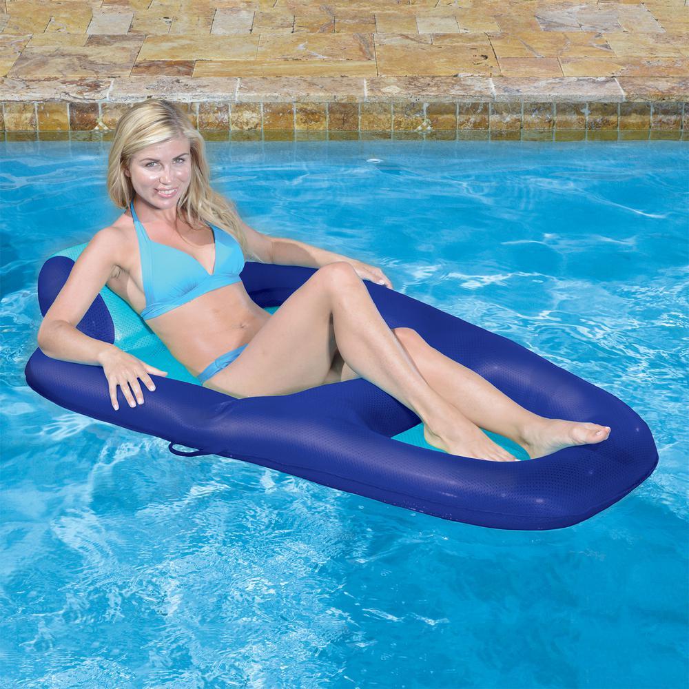 Aqua Blue Luxury Water Recliner Inflatable Swimming Pool Float ...