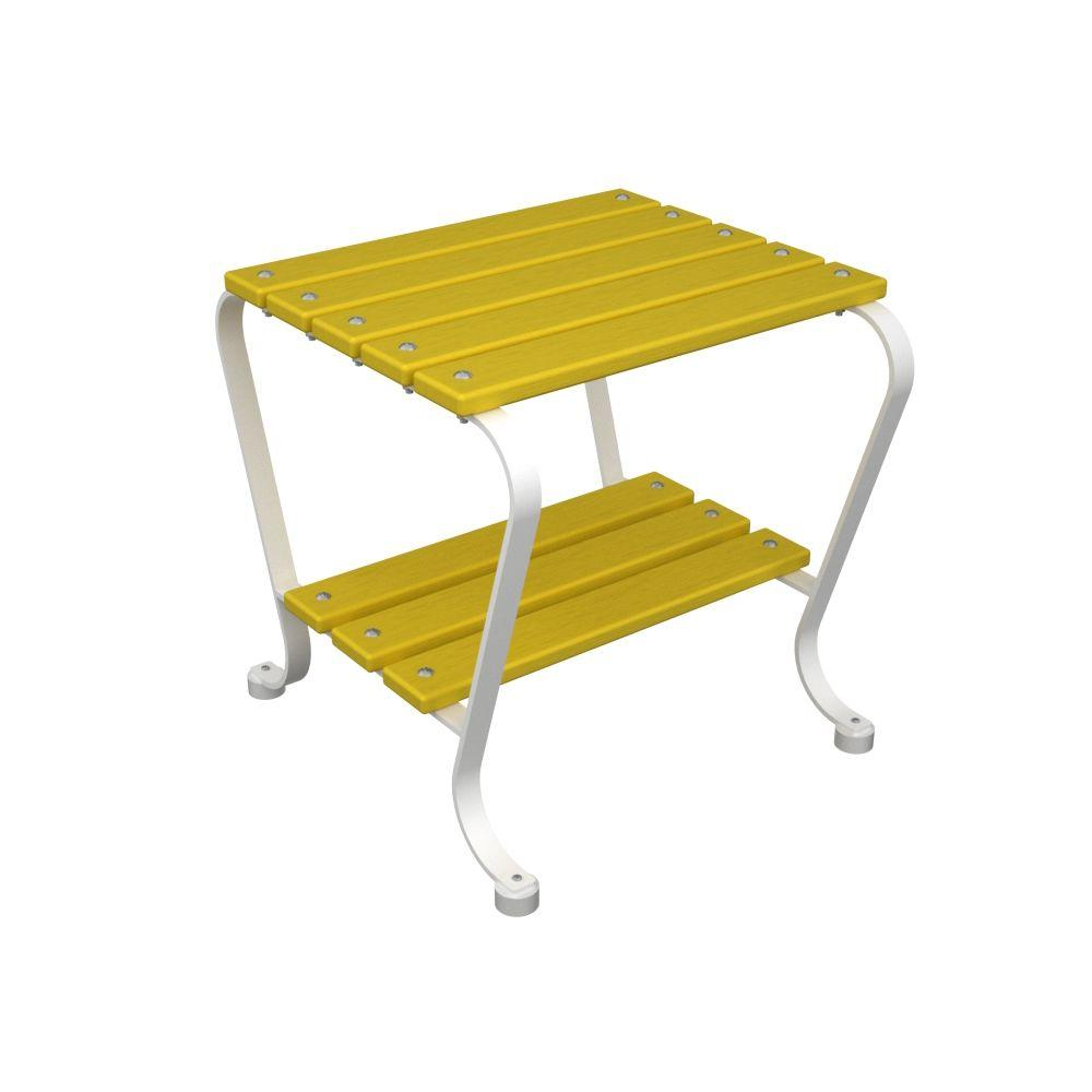 Ivy Terrace 18 in. White and Lemon Patio Side Table-DISCONTINUED