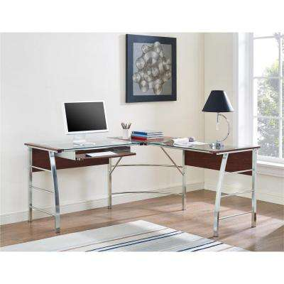 Wingate Glass Top Cherry L Shape Desk