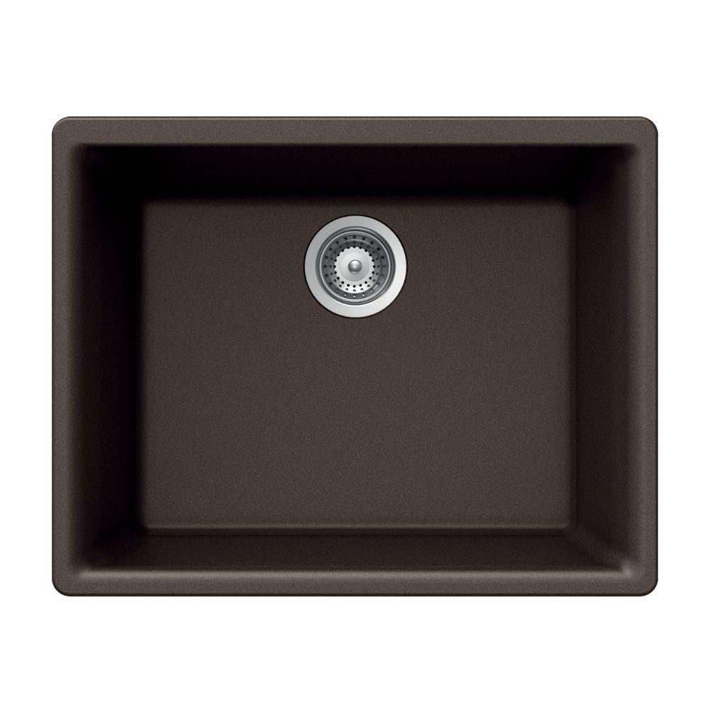 HOUZER Gemo Series Undermount Granite 23.625x18.313x8.688 0-hole Single Basin Kitchen Sink in Mocha