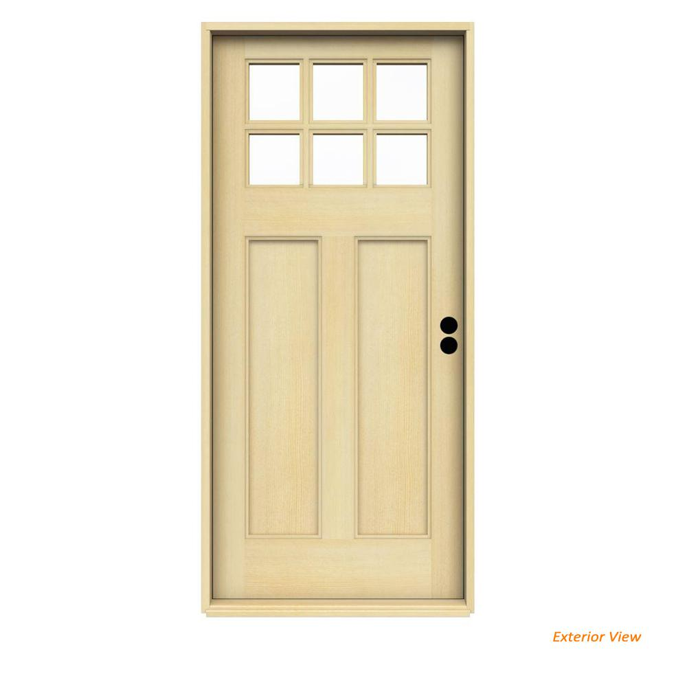 36 in. x 80 in. Craftsman 6-Lite Unfinished Fir Prehung Front