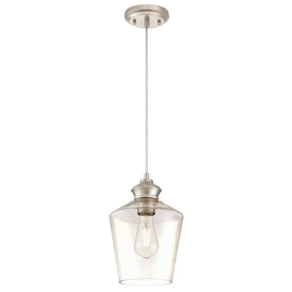 Ramsey 1-Light Brushed Nickel Mini Pendant with Clear Glass Shade