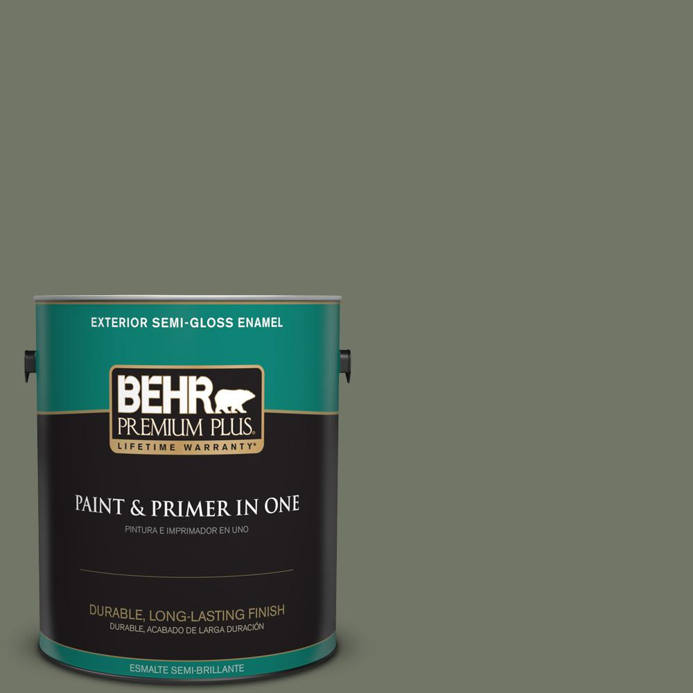 1 gal. #PPU10-19 Conifer Green Semi-Gloss Enamel Exterior Paint