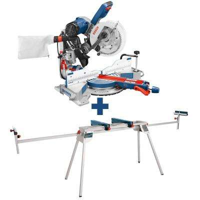 15 Amp Corded 10 in Dual-Bevel Sliding Glide Miter Saw with 60-Tooth Carbide Saw Blade and Bonus Folding-Leg Stand