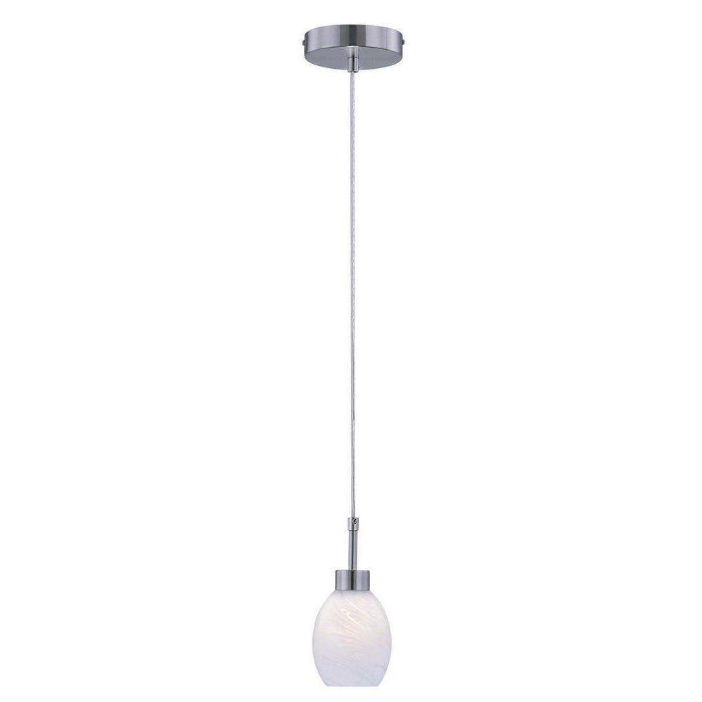 illumine 1 light polished steel pendant with white glass