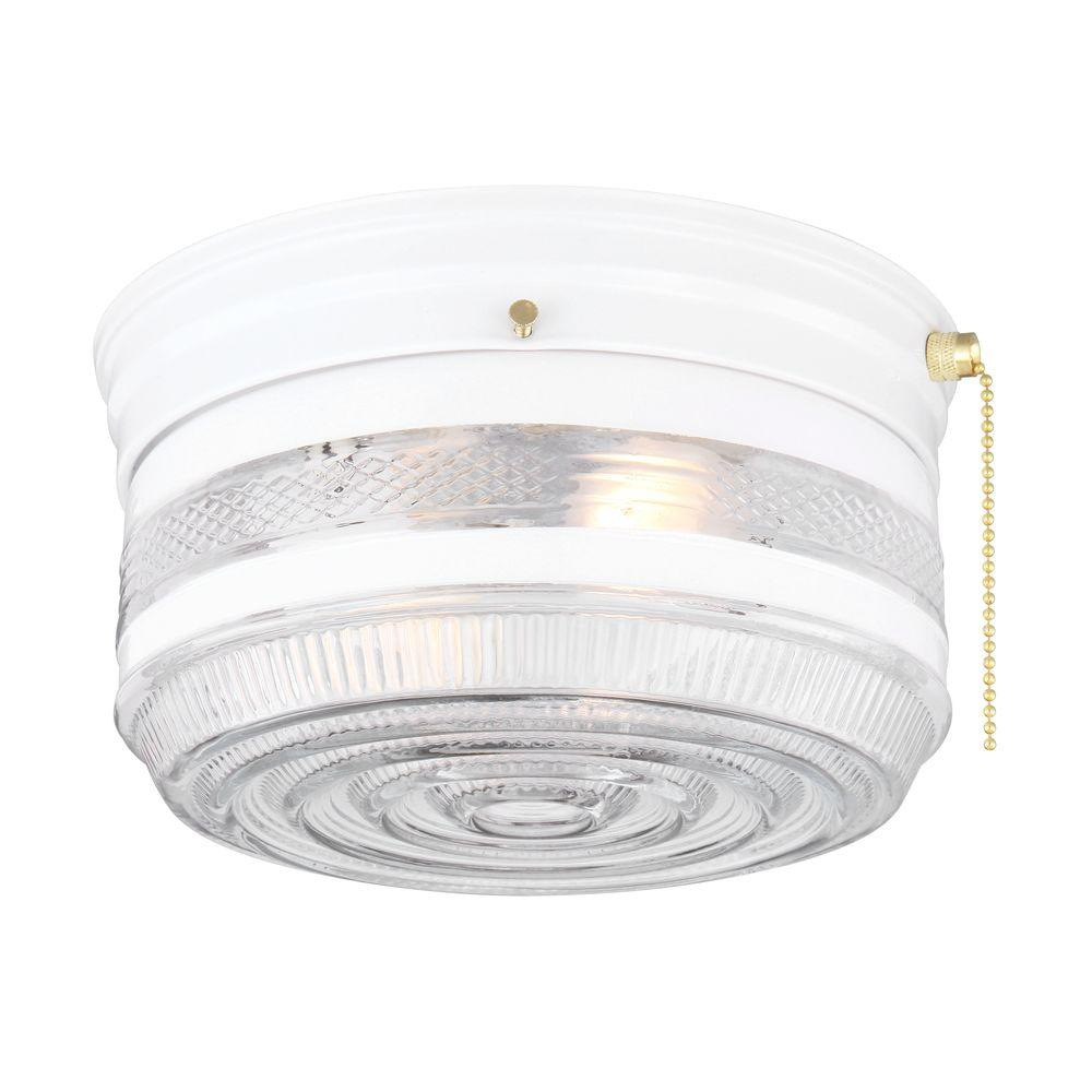Hampton Bay 2-Light White Drum Flushmount