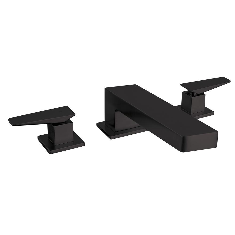 Quadro 2-Handle Deck-Mount Roman Tub Faucet in Black