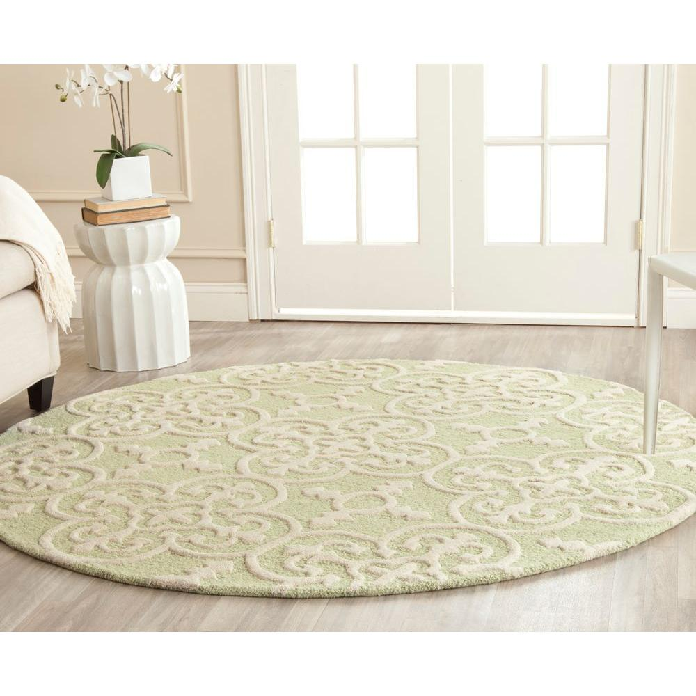 Safavieh Cambridge Light Green Ivory 6 Ft X 6 Ft Round Area Rug