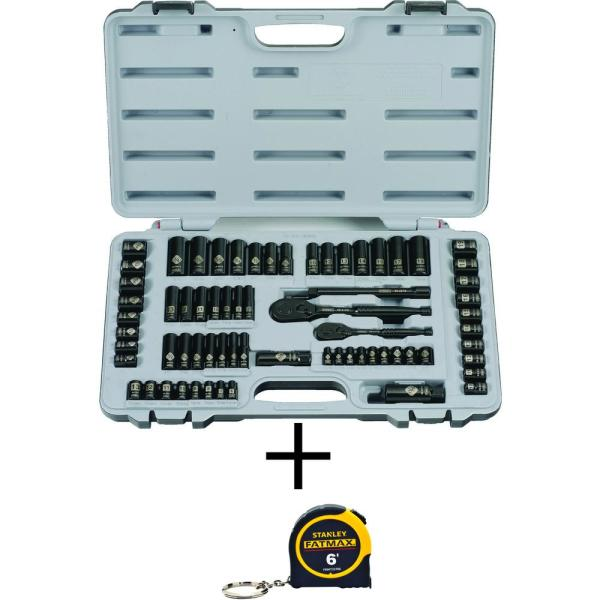 1/4 in. & 3/8 in. Drive Black Chrome Laser Etched  SAE  Mechanics Tool Set (69-Piece) w/FATMAX 6 ft. Tape Measure