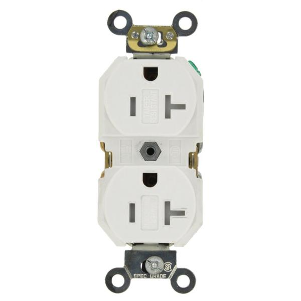20 Amp Commercial Grade Tamper Resistant Backwired Self Grounding Duplex Outlet, White