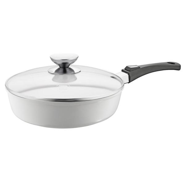 Berndes Vario Click Pearl 11.5 in./4 Qt. Induction Round Saute Pan with Lid White