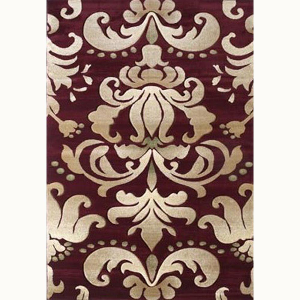 United Weavers Lotus Burgundy 5 ft. 3 in. x 7 ft. 6 in. Contemporary Area Rug