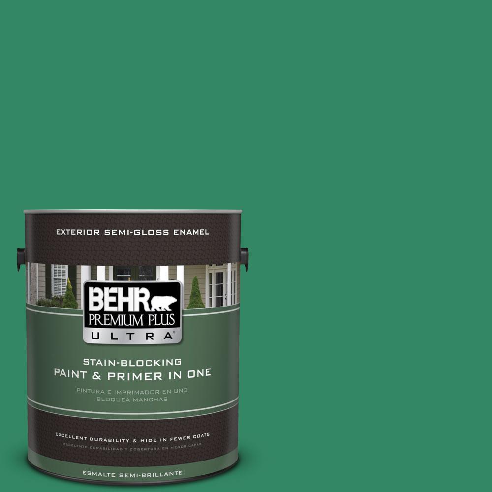 BEHR Premium Plus Ultra 1-gal. #P420-6 Exquisite Emerald Semi-Gloss Enamel Exterior Paint