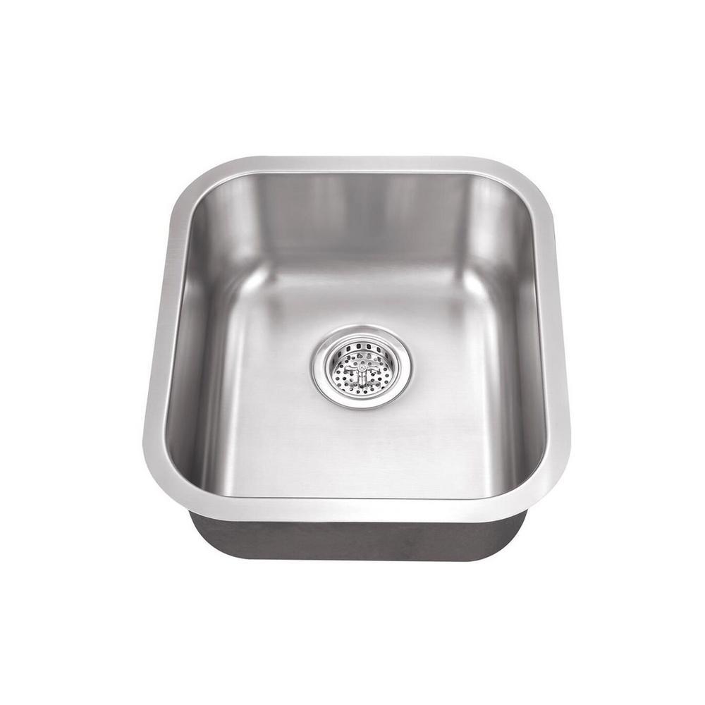Undermount Stainless Steel 16.125 in. x 18 in. Single Bowl Medium Bar Sink