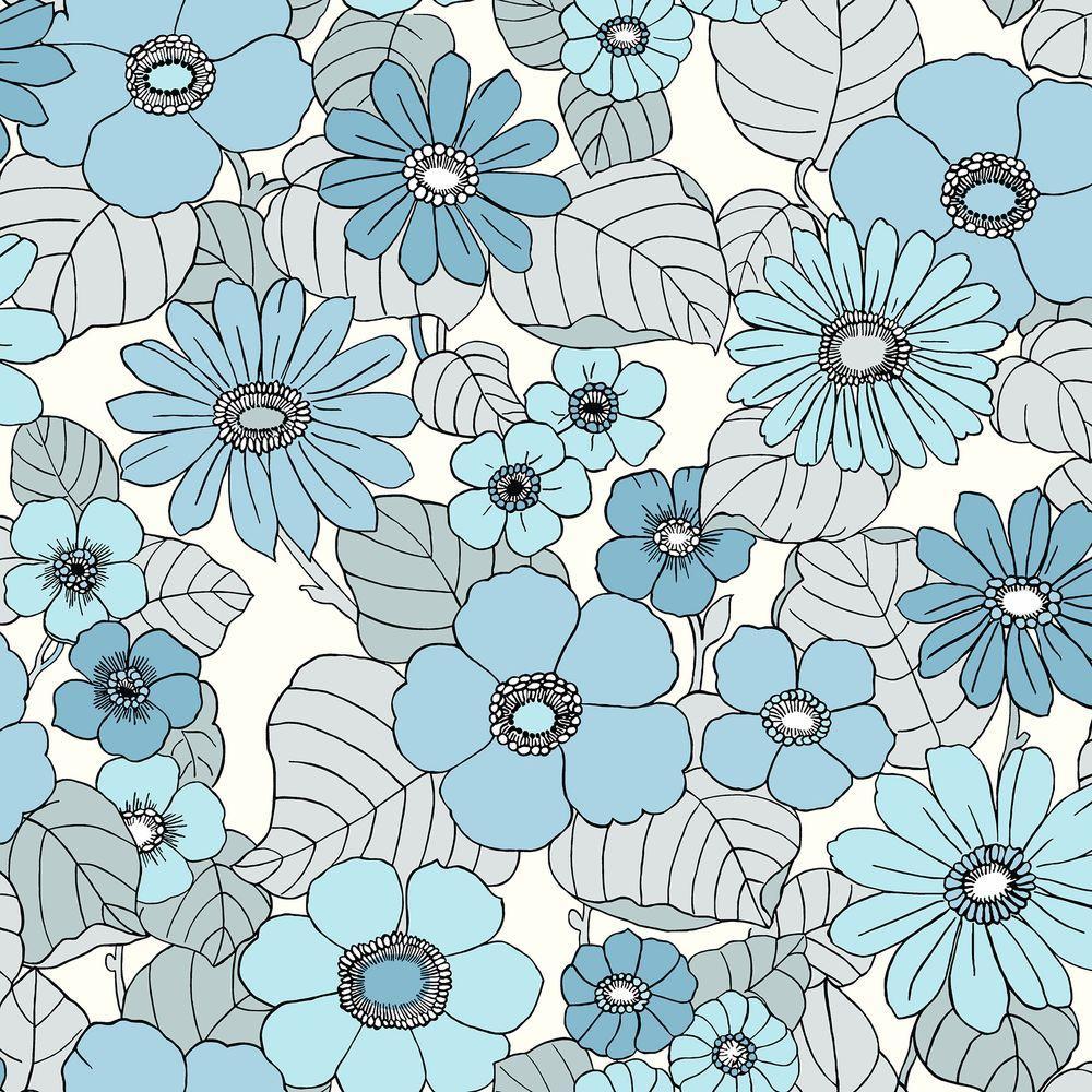 Brewster Light Blue Floral Burst Wallpaper