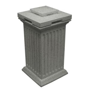 Savannah 16 inch x 16 inch x 38 inch Polyethylene Column Waste and Storage Bin in Light Granite by