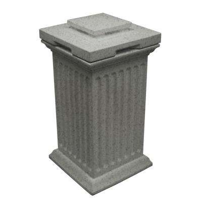 Savannah 16 in. x 16 in. x 38 in. Polyethylene Column Waste and Storage Bin in Light Granite