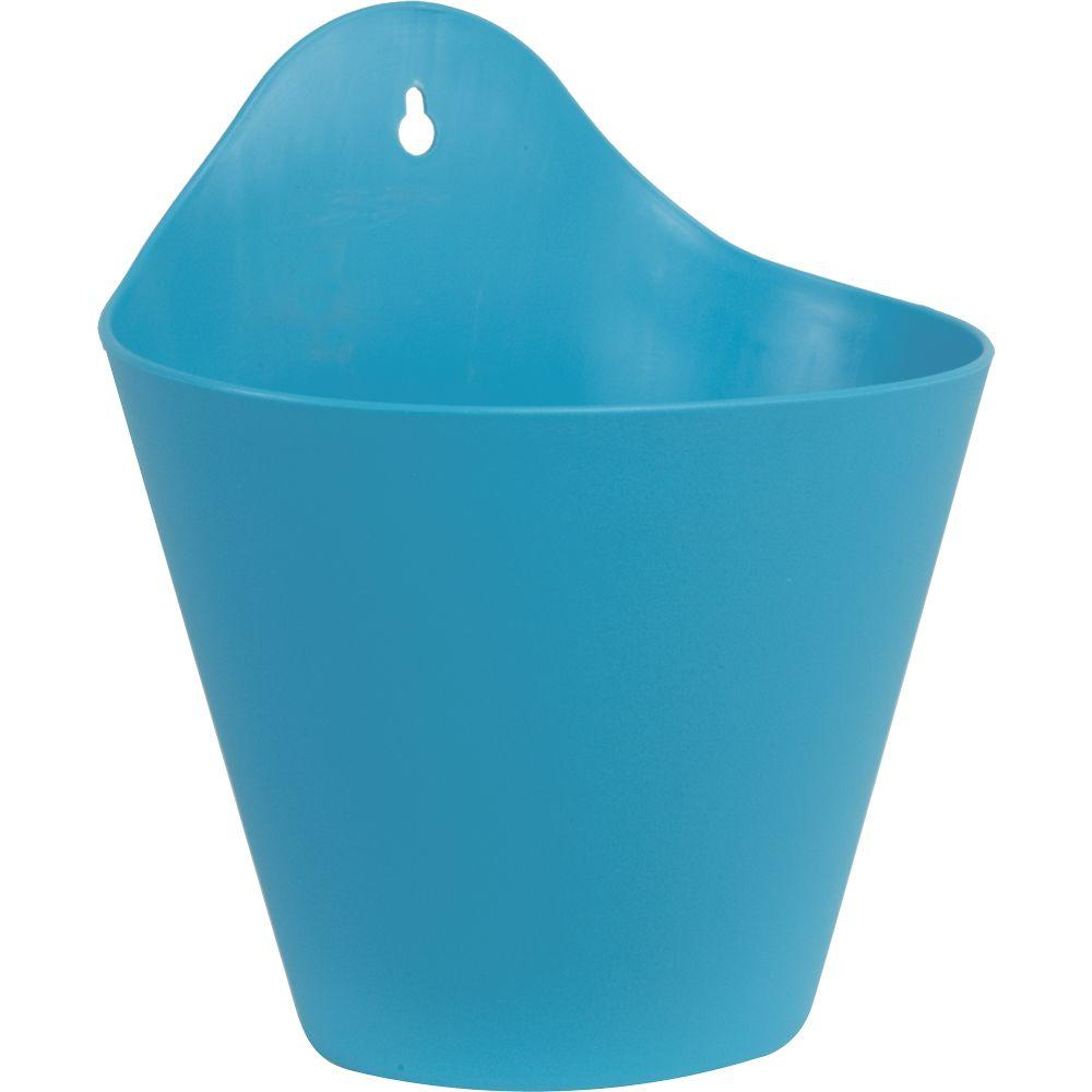 Mela 8-1/2 in. Blue Plastic Wall Planter