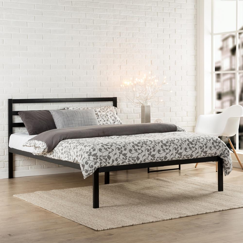 modern studio black queen platform bed