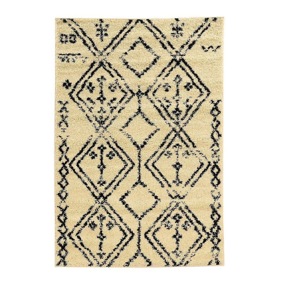 Moroccan Collection Fes Ivory and Black 5 ft. x 7 ft.