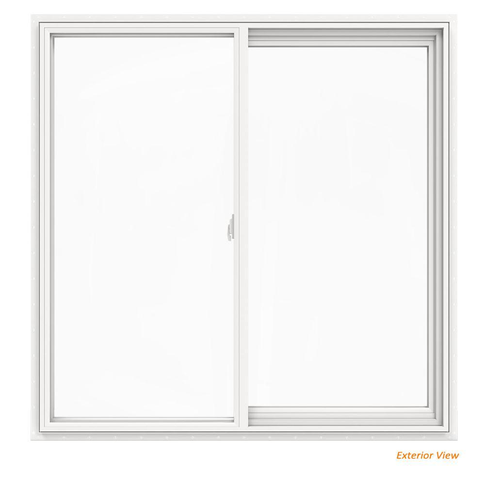 JELD-WEN 47.5 in. x 47.5 in. V-2500 Series White Vinyl Left-Handed Sliding Window with Fiberglass Mesh Screen