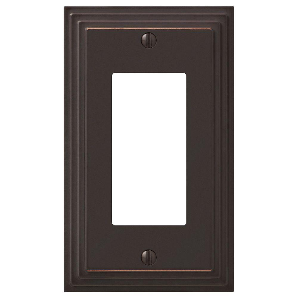 Hampton Bay Tiered 1 Gang Rocker Metal Wall Plate - Aged Bronze
