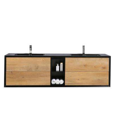 Vienna 74.80 in. W x 20.70 in. D x 21.60 in. H Vanity in Black-Oak with Acrylic Vanity Top in White with White Basin