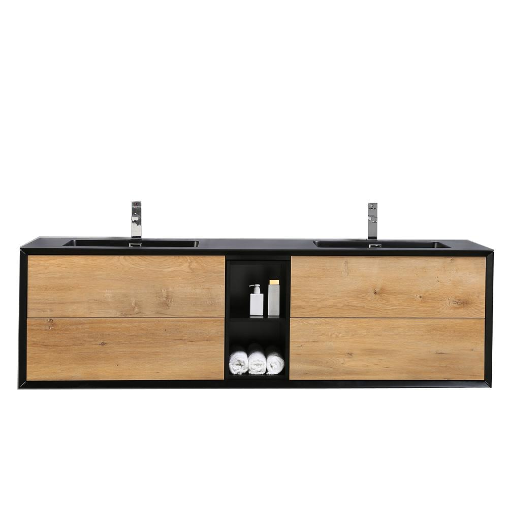 Eviva Vanity Black Oak Acrylic Vanity Top White Basin