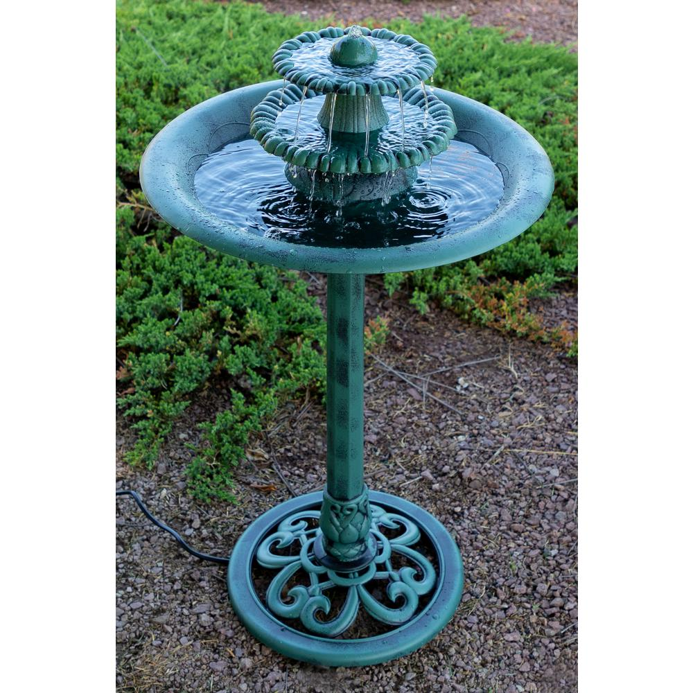 Alpine Corporation 3 Tiered Vintage Pedestal Water Fountain And Bird Bath Green
