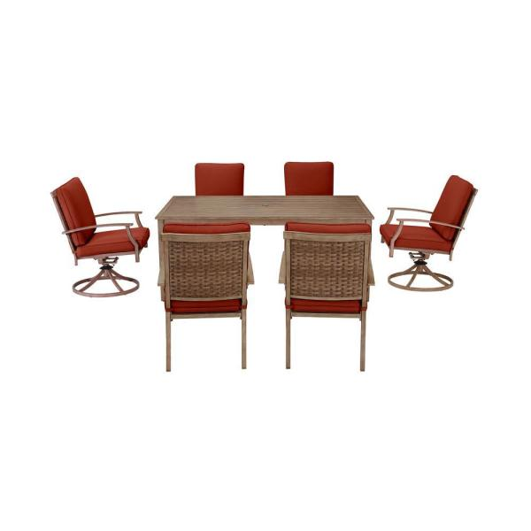 Hampton Bay Geneva Brown Wicker Outdoor Patio Stationary Dining Chair With Sunbrella Henna Red Cushions 2 Pack Frs60786 2phen The Home Depot