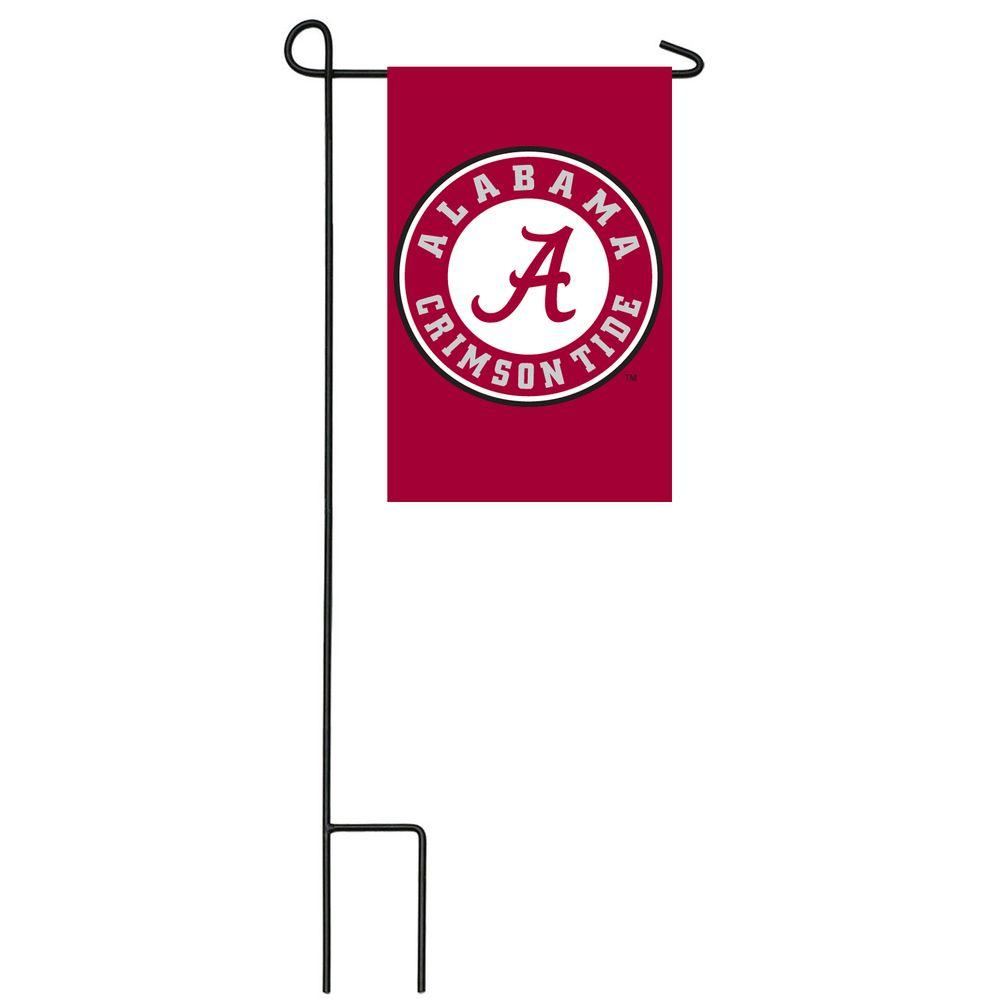 Team Sports America NCAA 12-1/2 in. x 18 in. Alabama 2-Sided Garden Flag with 3 ft. Metal Flag Stand-DISCONTINUED
