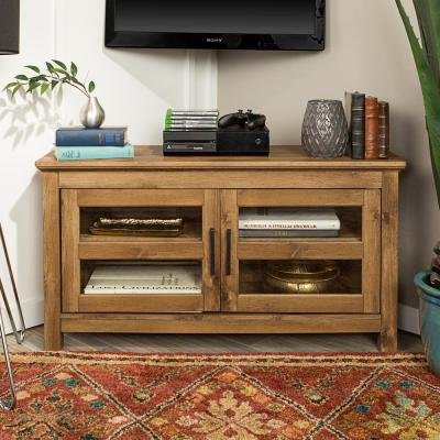 Cordoba 44 in. Barnwood MDF Corner TV Stand 48 in. with Doors