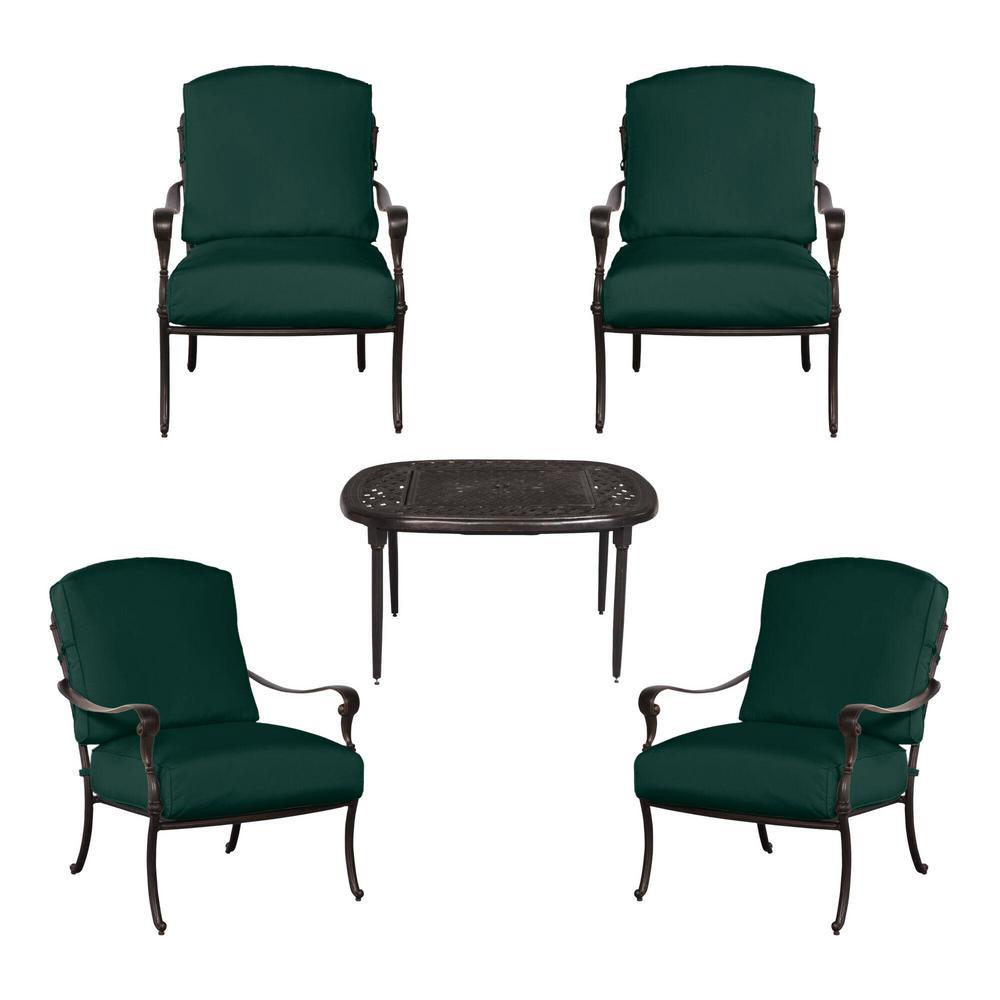 Edington 5-Piece Patio Fire Pit Chat Set with Standard Charleston Blue-Green Cushions