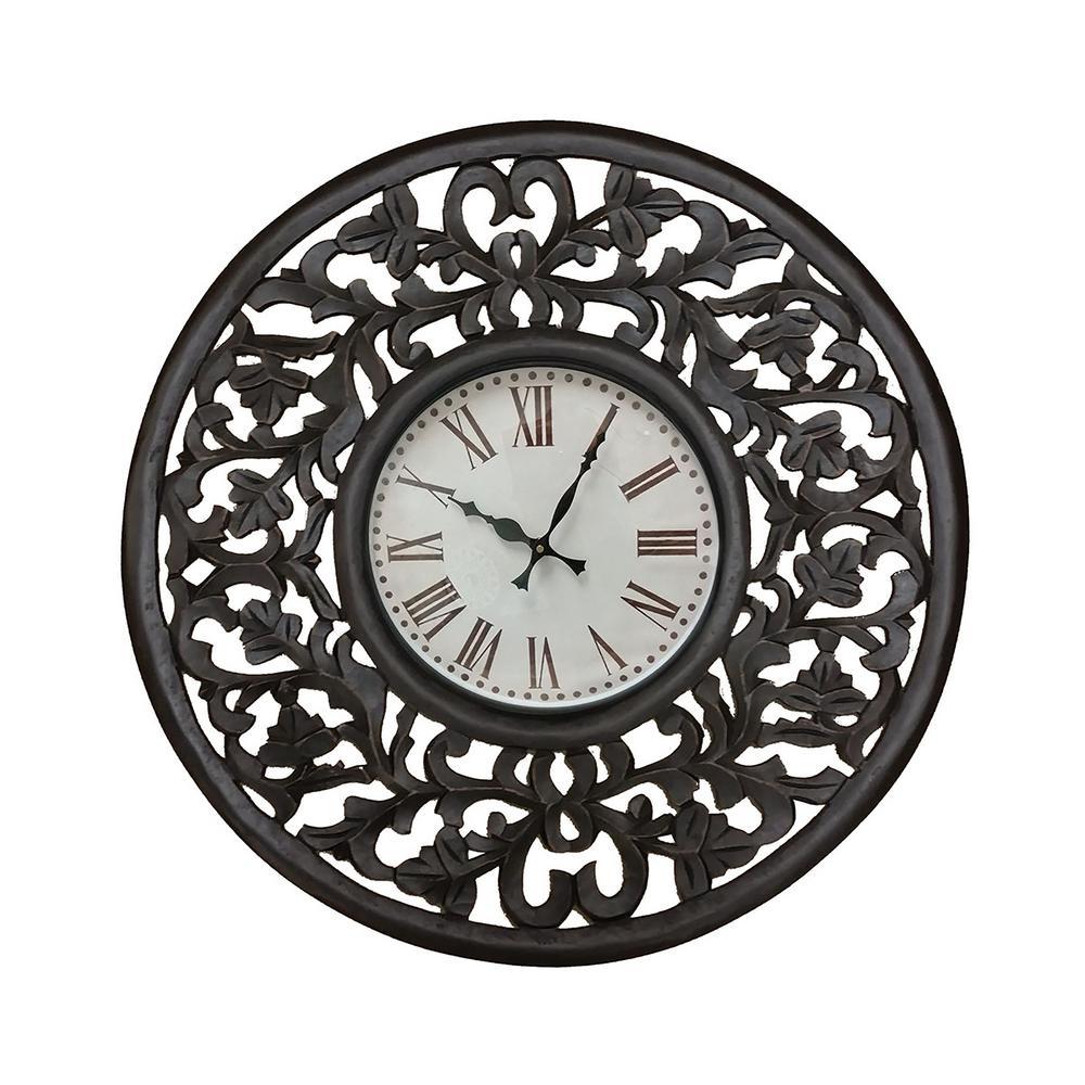 Vella Espresso Wood Clock