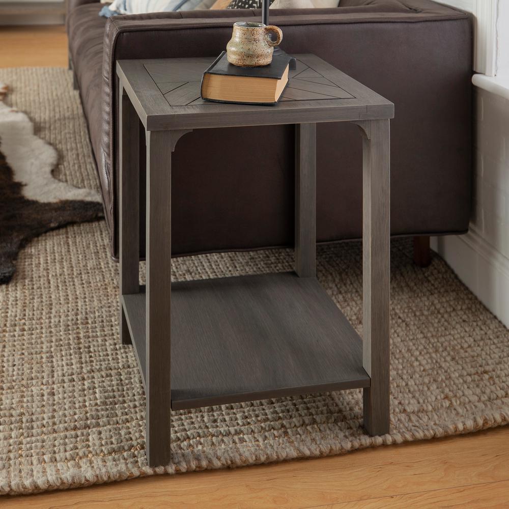 18 in. Grey Chevron Design Wood Side Table