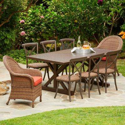 Hacienda Heights 9-Piece Aluminum and Wicker Outdoor Dining Set with Red Cushions