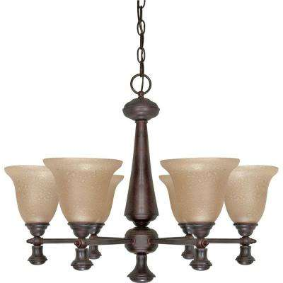 6-Light Old Bronze Chandelier with Amber Water Glass Shade