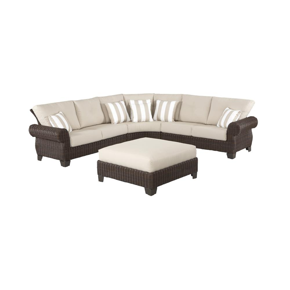 Hampton Bay Sectional Set Parchment Cushions