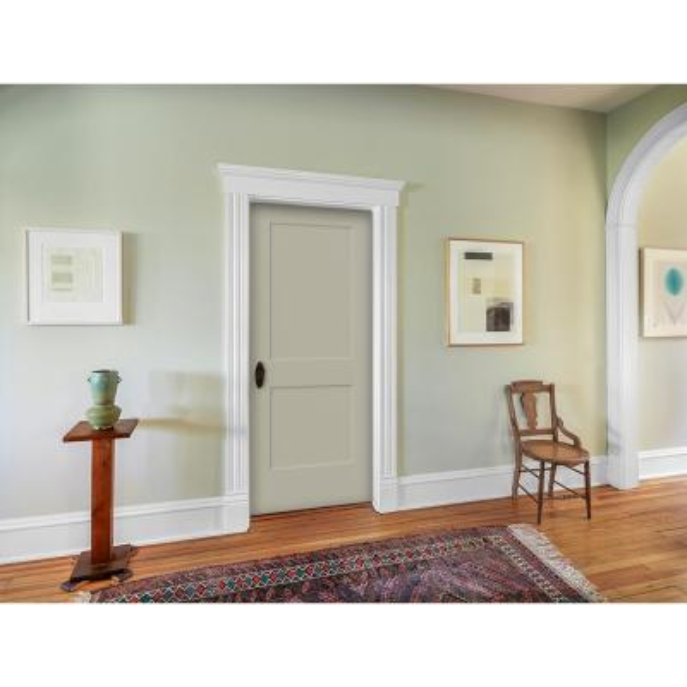 30 in. x 80 in. Monroe Desert Sand Left-Hand Smooth Solid Core Molded Composite MDF Single Prehung Interior Door